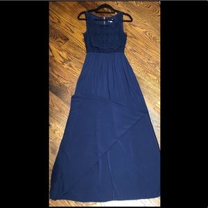 Navy maxi with lace top and slit